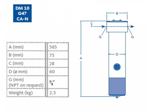 Membranowy DM10 G47 CA-N